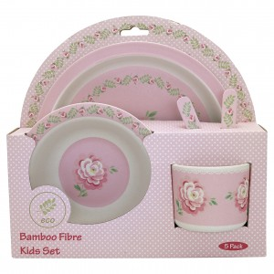 GreenGate Bambus Kindergeschirr Lily petit white 4er Set