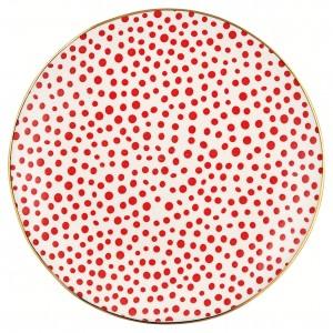 GreenGate Frühstücksteller Dot red w/gold
