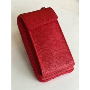 Handy Leder-Umhängetasche mit Börse rot