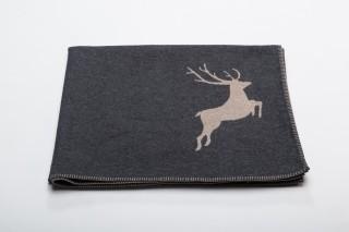 Fussenegger Decke anthrazit mit Hirsch