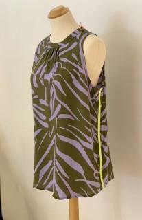 Emily van den Bergh Blusentop - Zebraprint khaki/lavendel