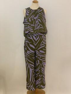Emily van den Bergh Hose - Zebraprint khaki/lavendel