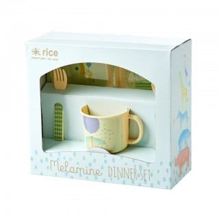 "Rice Bambus-Melamin Dinner Set 4-teilig ""Boys Animal Print"""