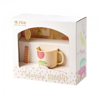 "Rice Bambus-Melamin Dinner Set 4-teilig ""Girls Animal Print"""