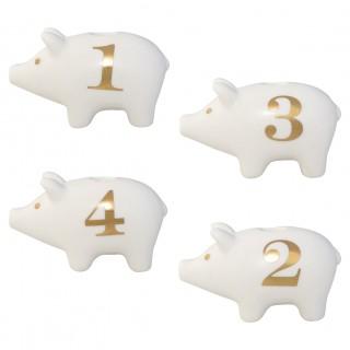 GreenGate Kerzenständer Adventsschwein im 4er Set