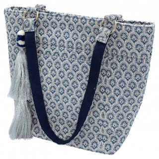 GreenGate Shopper blue/silver medium