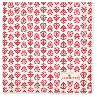 GreenGate Stoffserviette mit Spitze Ashley red