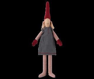 Maileg Nisse Weihnachtswichtel Mini Pixy in dunkelblauem Kleid
