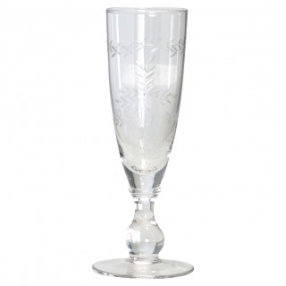 GreenGate Champagnerglas with cutting, clear