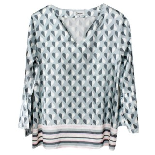 Grace Bluse Seide Herzmuster light grey