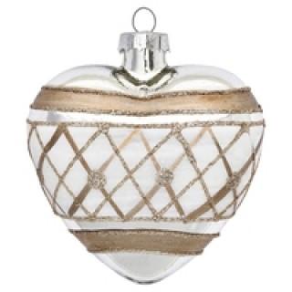 GreenGate Weihnachtsschmuck Herz Laurie white/silver