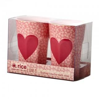 Rice Melamin Becher 'Heart Print' 2-teilig