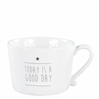 BC Henkeltasse groß 'Today is a good day' schwarz