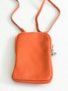 Handy Leder-Umhängetasche orange