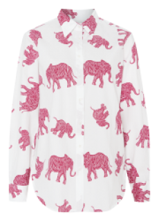 0039 ITALY Hemdbluse Sanja Elefanten Print