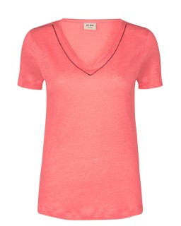 MOS MOSH - Shirt Gina Sequin V-neck sugar coral