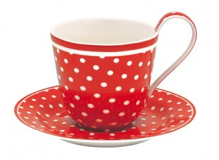 GreenGate Tasse/Untertasse Spot red