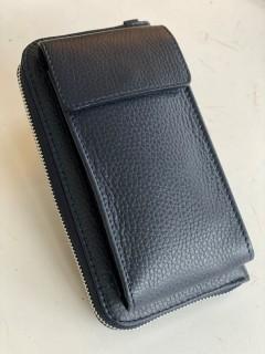 Handy Leder-Umhängetasche mit Börse dunkelblau