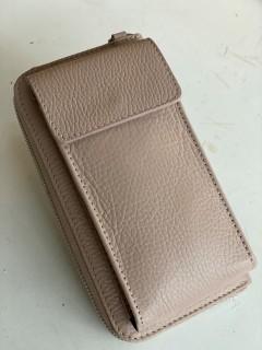 Handy Leder-Umhängetasche mit Börse beige