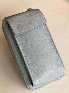 Handy Leder-Umhängetasche mit Börse hellblau