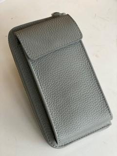 Handy Leder-Umhängetasche mit Börse hellgrau